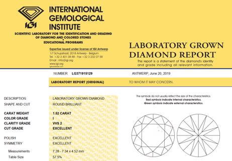 IGI LAB GROWN DIAMOND REPORT